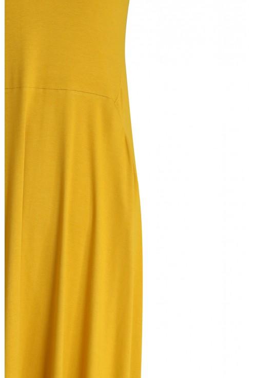 Miodowa rozkloszowana sukienka - BASILIA