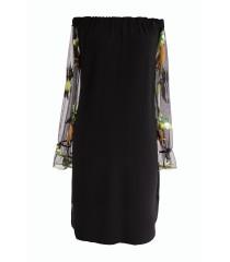 Czarna sukienka hiszpanka rajskie ptaki - MIRELLA