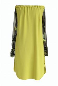 Limonkowa sukienka hiszpanka w ptaki - MIRELLA