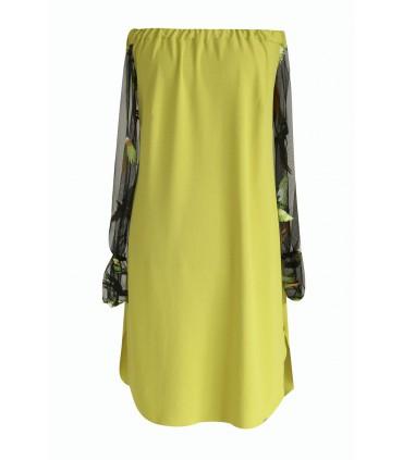 Limonkowa sukienka hiszpanka rajskie ptaki - MIRELLA