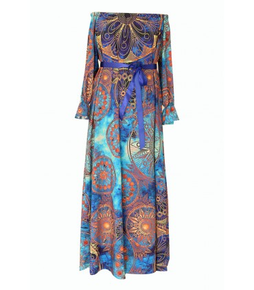 Niebieska sukienka maxi - PANDORA