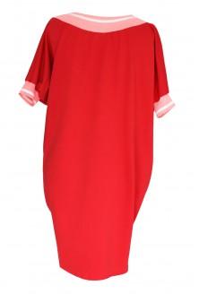 Czerwona sukienka z różowym ściągaczem - WHITNEY