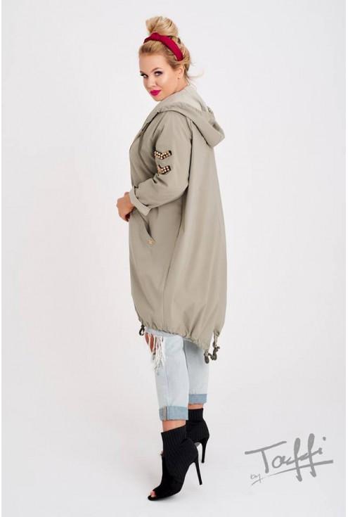 bok kurtki przeciwdeszczowej khaki