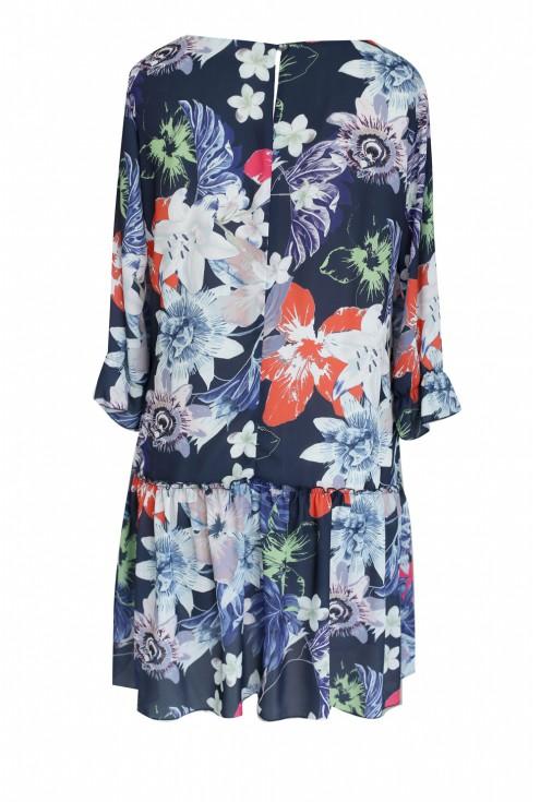 Granatowa sukienka w kwiatki BELLFLOWER