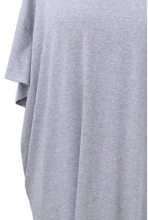 Szara gładka tunika z krótkim rękawem LETTI