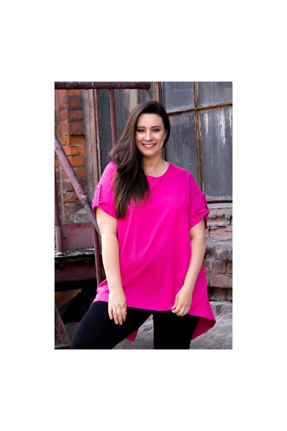 3b398271408fa1 Tunika ściągana na plecach ADELINE - kolor różowy - XL-ka