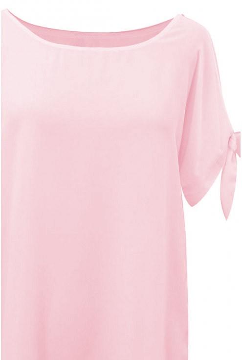 Pudrowa szyfonowa bluzka LARISS