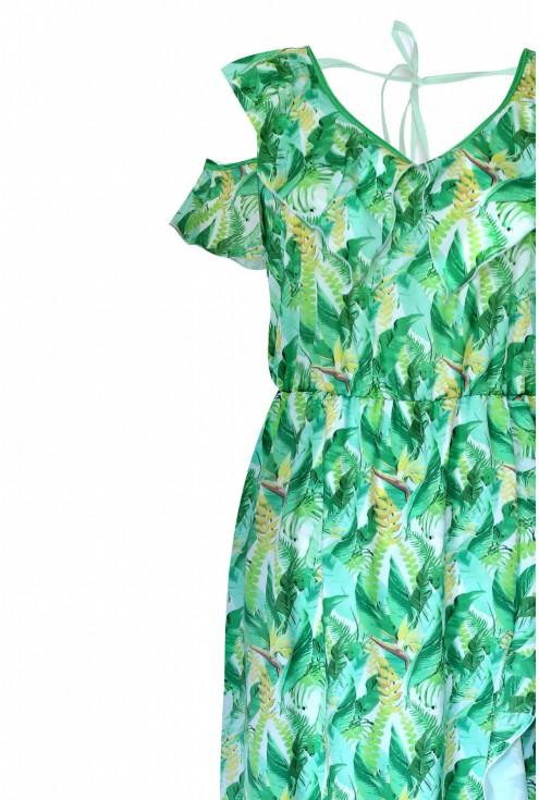 bok sukienki w roślinny wzór lauren