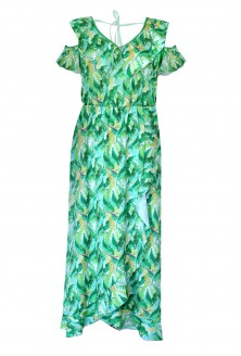 zielona sukienka z falbanami lauren