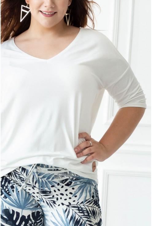 Kremowo biała bluzka z dłuższym tyłem NIKI