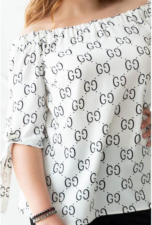 Bluzka hiszpanka biała w czarny wzór NINA