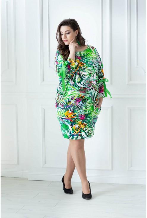 zielona sukienka z wzorem plus size safari