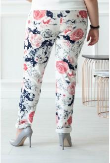 Kremowo białe spodnie dresowe w róże CAMILLA