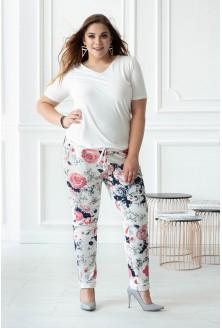 Białe spodnie dresowe w róże CAMILLA
