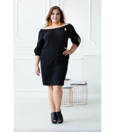 Czarna sukienka hiszpanka z misiem - FRANCESCA