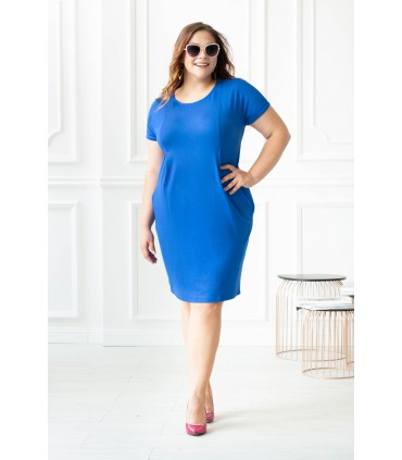 Niebieska sukienka z pionowymi zaszewkami GIOVANNA