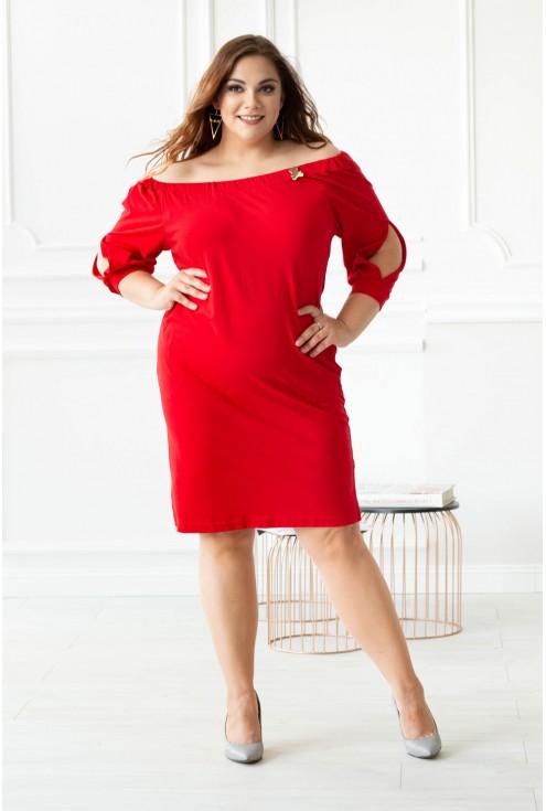 Czerwona sukienka hiszpanka z misiem - FRANCESCA