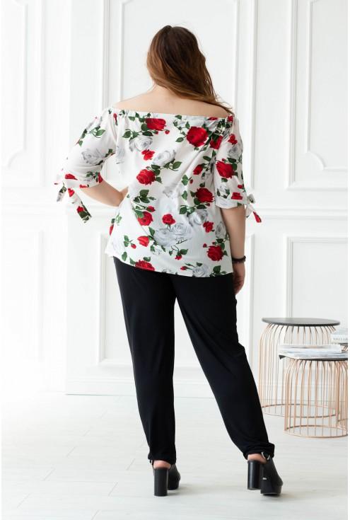 Biała bluzka hiszpanka w róże NINA