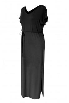 Czarna sukienka maxi z wycięciem MELISSA