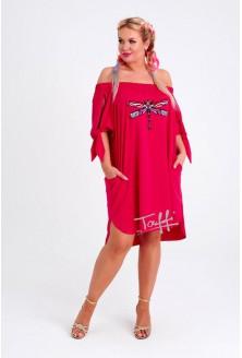 Różowa sukienka hiszpanka z ważką MORIS