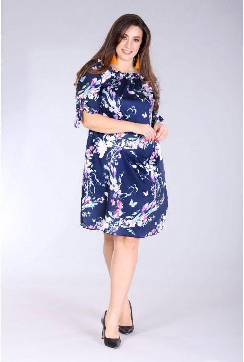 satynowa sukienka hiszpanka granat z wzorem size plus