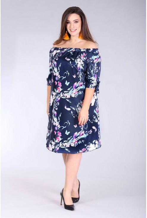 satynowa sukienka hiszpanka granat z wzorem