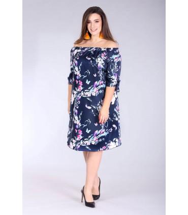 Sukienka hiszpanka w kwiaty - MARITA kolor granatowy