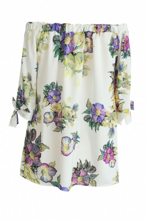 bok bluzki hiszpanki w kwiaty