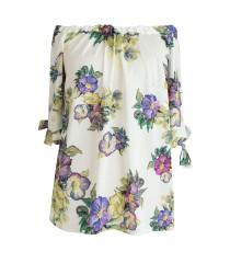 Jasna satynowa bluzka hiszpanka w kwiaty NINA