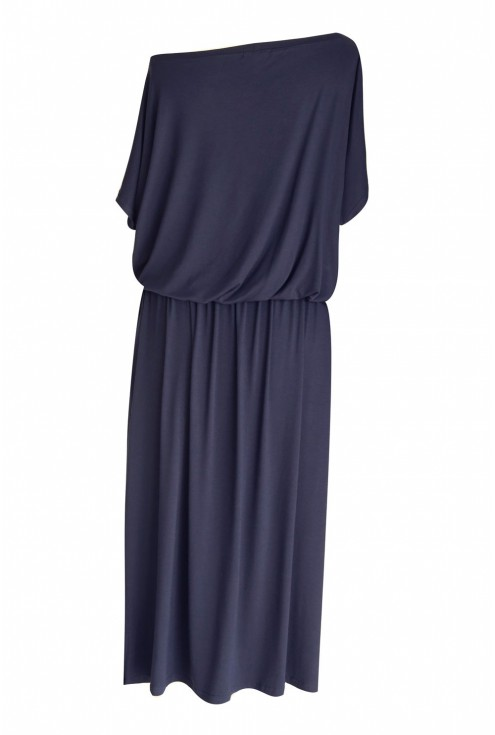 Granatowa sukienka maxi TYGRYS - GRAND (długość 7/8)