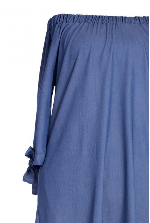 Sukienka hiszpanka z kieszeniami - Sofía - kolor jeansowy