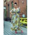 Żółta sukienka maxi w liście LAUREN