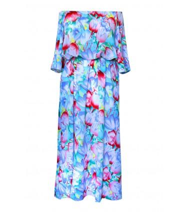 Niebieska sukienka hiszpanka w kwiatowy wzór - JANICE