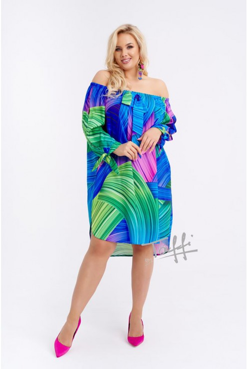 Zielono-niebieska sukienka hiszpanka FONETTI