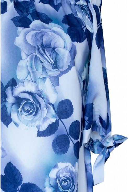 Jasno-niebieska sukienka hiszpanka w róże MARITA