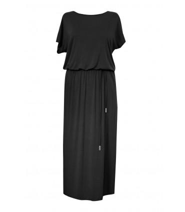 Czarna sukienka maxi Valentia - długość 7/8 ozdobne plecy