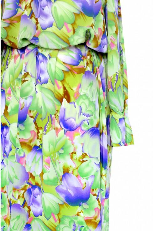 Sukienka hiszpanka w kwiaty - rozcięte rękawy OCTAVIA