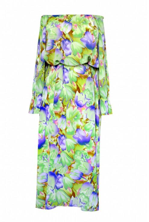 zielona sukienka maxi 2 liście