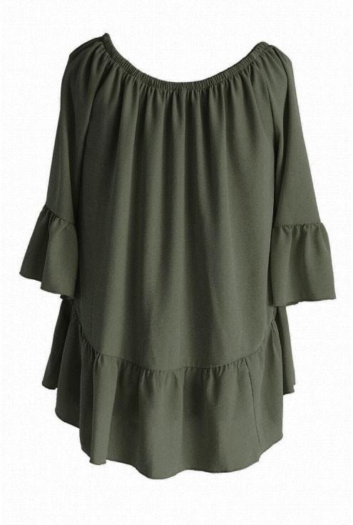 Khaki bluzka hiszpanka - FIORELLE
