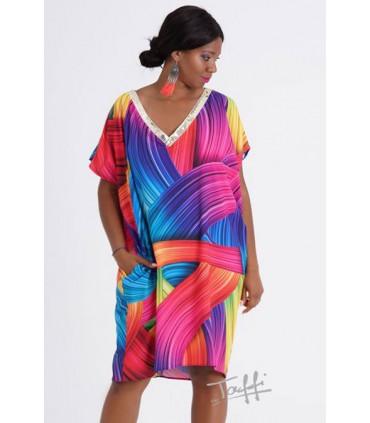 Tęczowa sukienka oversize z cekinami - GOLDI
