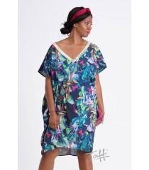 Sukienka oversize z cekinami - kwiatowy wzór - GOLDI