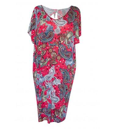 Czerwona dzianinowa sukienka z kokardką z tyłu - Orientalny wzór - CRYSTAL