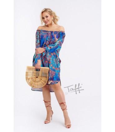 Niebieska sukienka hiszpanka z wzorem FONETTI