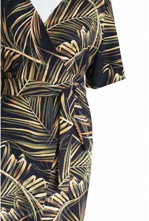 Czarna sukienka wzór w liście - VENEZIA PHILIPINNES