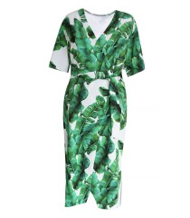 Biała sukienka w liście - VENEZIA GREEN