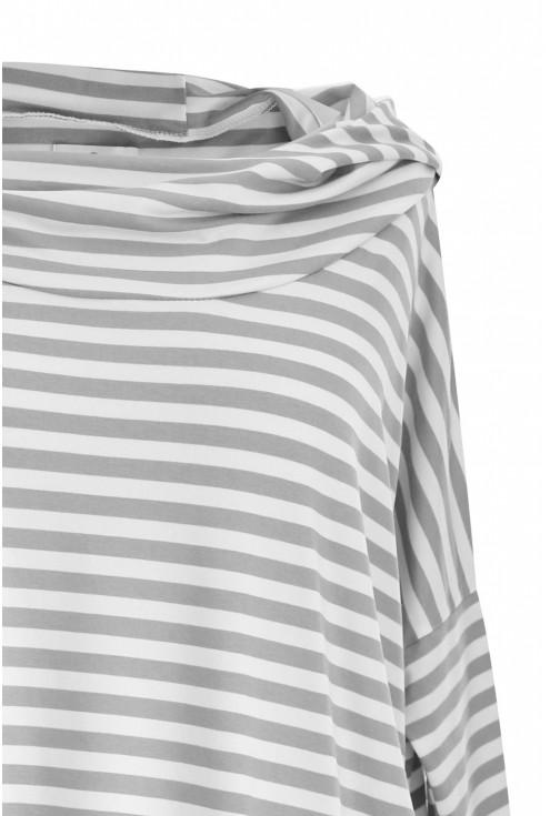 Biało-szara lekka bluza w paski STEPHANIE