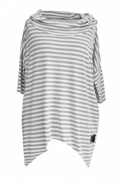 biało-szara bluza w paski xxl