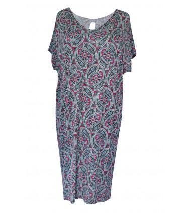 Szara dzianinowa sukienka z kokardką z tyłu - Orientalny wzór - CRYSTAL