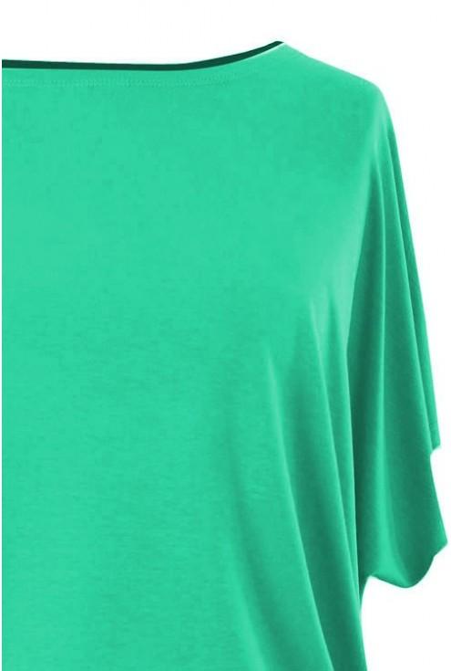 Bluzka z wiskozy krótki rękaw BASIC - jasny turkus