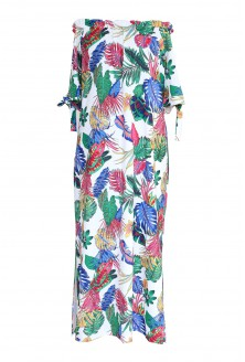długa sukienka maxi w liście plus size